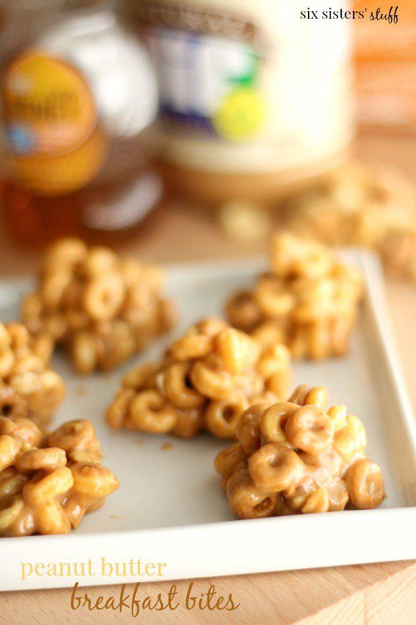 Peanut Butter Breakfast Bites from Six Sisters' Stuff-use regular or multigrain cheerios too