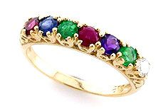 This is a Victorian Inspired romantic ring which has been beautifully crafted from 9ct Solid Gold. A NATURAL Round Cut Diamond, Emerald, Amethyst,