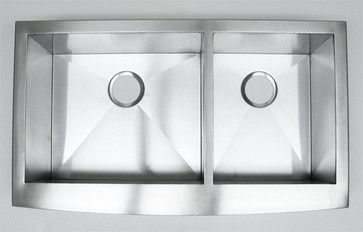 36 Inch Stainless Steel Curved Front Farm Apron 60/40 Double Bowl Kitchen Sink modern-kitchen-sinks