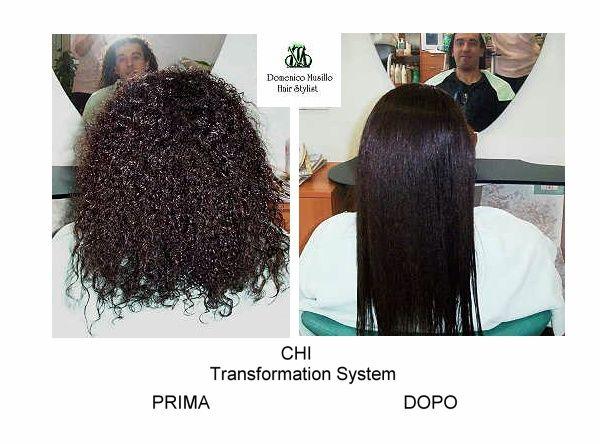 Prima e dopo la stiratura biologica dei capelli eseguito in salone