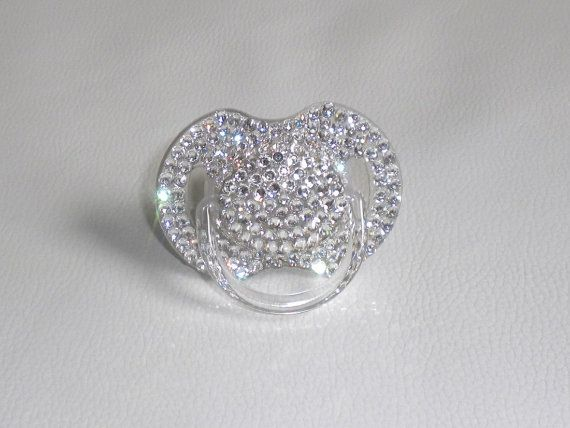 Bling pacifier by YourGirlfriendCloset on Etsy, $15.00