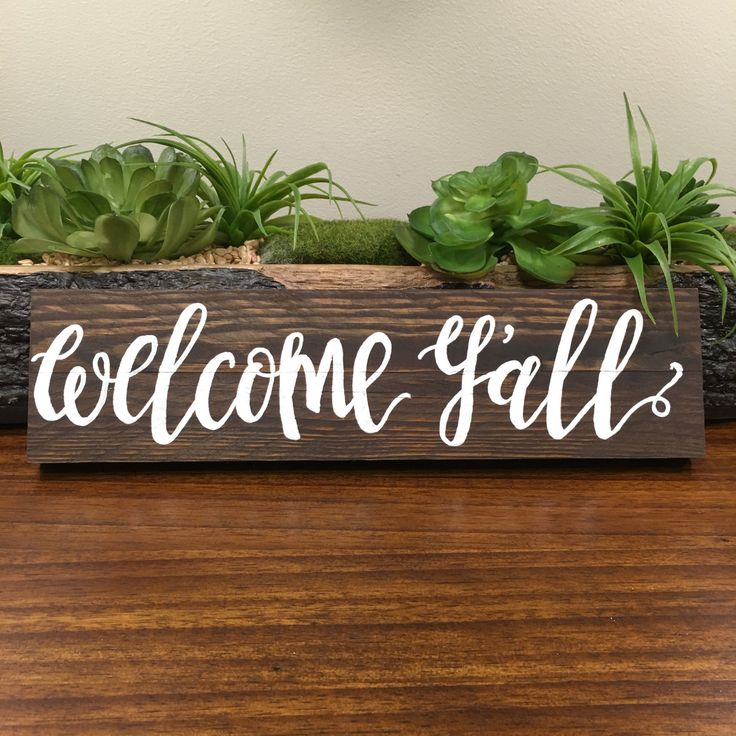 WELCOME Y'ALL, RECLAIMED WOOD SIGN