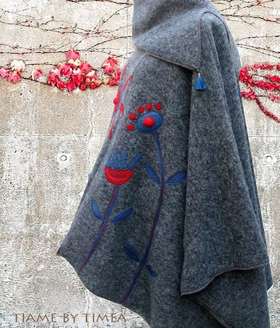 Grey asymmetric poncho pullover with cowl by tiamebytimea on Etsy
