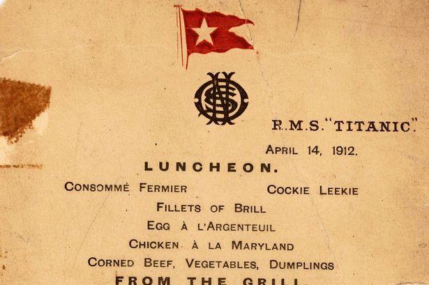 De laatste lunch menu van de Titanic zal naar verwachting oplopen tot $ 70.000 op een veiling