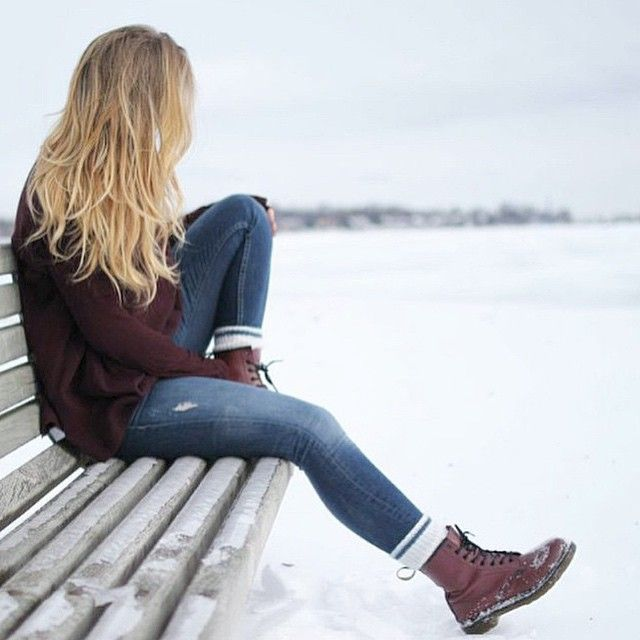 maroon sweater + cherry red doc martens …