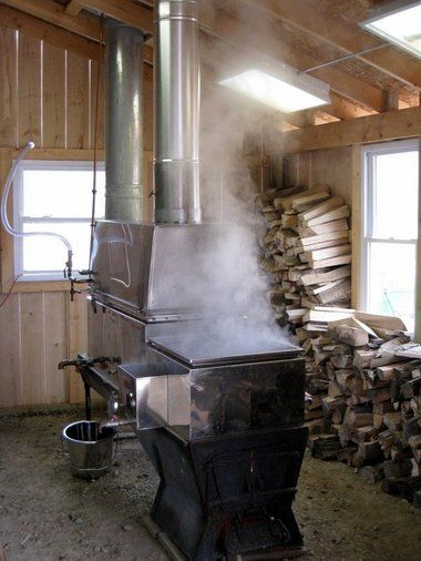 Collecting the sap into containers, and tending to the hours-long process of boiling it in steaming wood, gas or oil-fired evaporators into maple syrup.