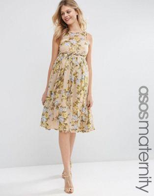 ASOS Maternity - Vestito midi in morbido tessuto con rose gialle
