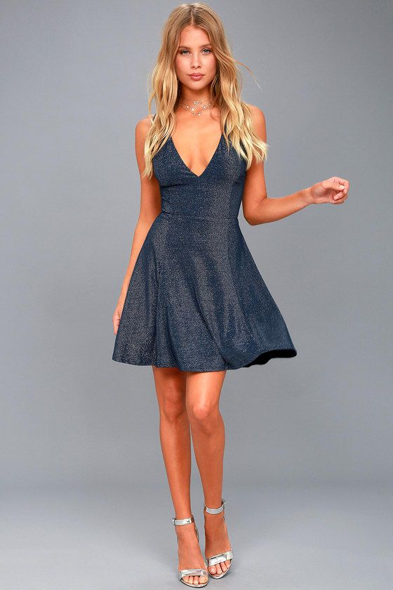 161e0b2c85 You Glow Girl Navy Blue and Silver Backless Skater Dress 2