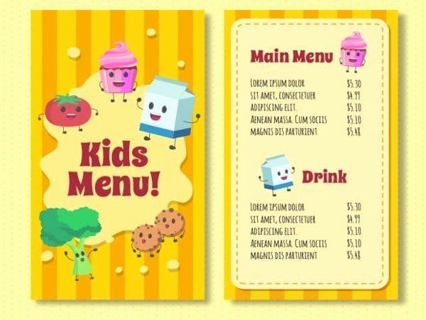 Download Kids Menu Template With Enjoyable Foodstuffs For Free Kids Menu Menu Template Menu