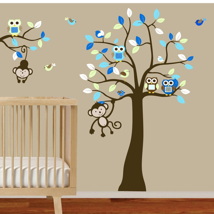 Baby boys nursery tree and branch wall decal owls birds for Baby nursery tree mural