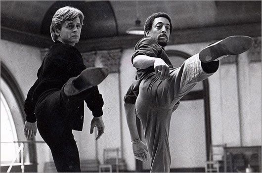 """Mikhail Baryshnikov and Gregory Hines in """"White Nights."""" (Great soundtrack, too.)"""
