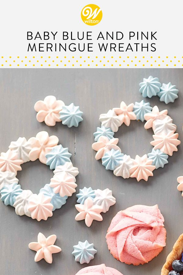 Baby Blue And Pink Meringue Wreaths In 2019 The Cookie Jar Yummy