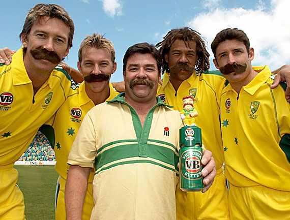 Image detail for -Famous moustaches | Famous moustaches | The Australian cricket team playing around - Only one has a real moustache!!!