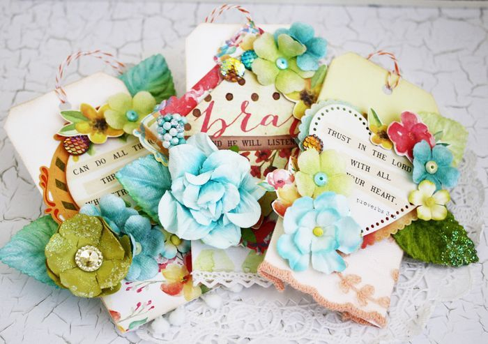 """""""The Journaling Cards from the Creating in Faith™ line make the sweetest tags!  By using your favorite shape dies, you can cut the phrases printed on the notecards and use them to create your focal points."""" ~~ Melissa Phillips"""
