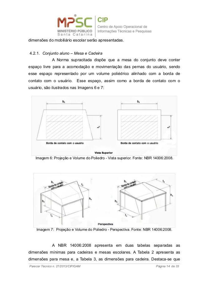 dimensões do mobiliário escolar serão apresentadas. 4.2.1. Conjunto aluno – Mesa e Cadeira A Norma supracitada dispõe que ...