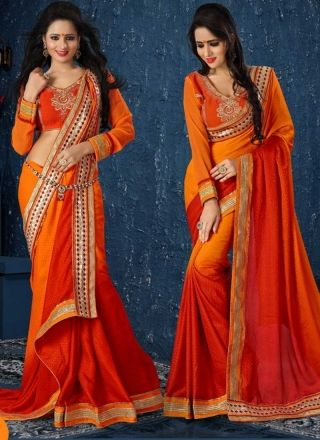Fanta Orange And Red Faux Georgette Patch Border Work Saree