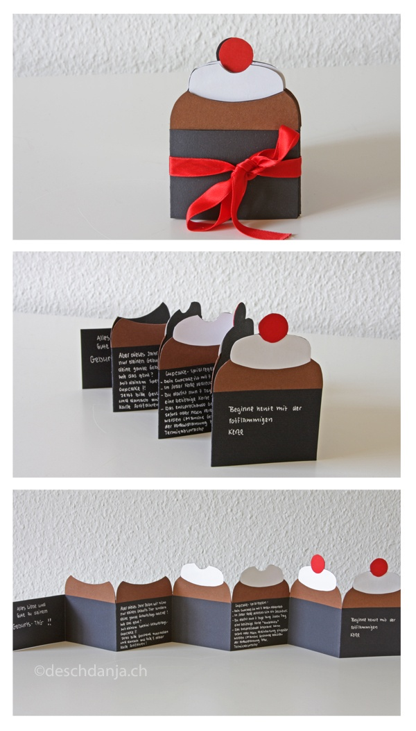 Cupcake Leporello Birthday Card. www.deschdanja.ch