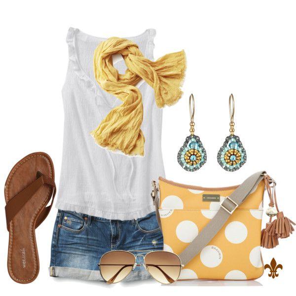 Yellow Polka Dots.: Polka Dots, Summer Day, Dreams Closet, Summer Style, Yellow Polka, Summer Outfits, Woman Style, Bags, Earrings