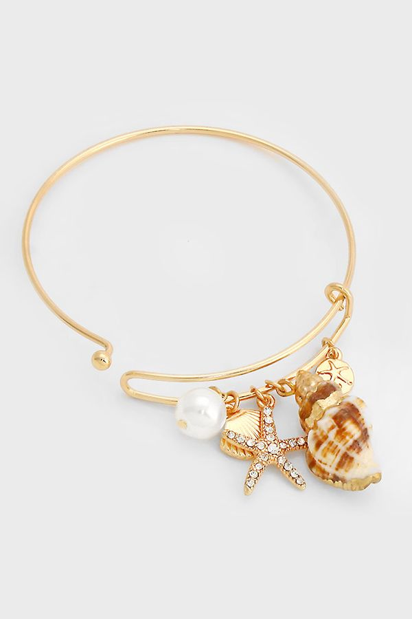 Gold Dipped Seashell Bracelet