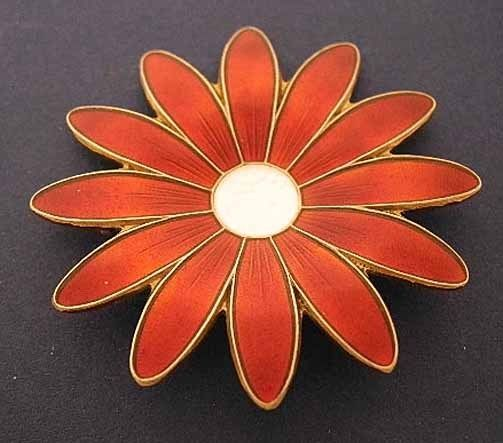 "Aksel Holmsen Gilt Sterling/RED Enamel DAISY Pin~Ex Cond~Norway 2"" Flower Brooch"