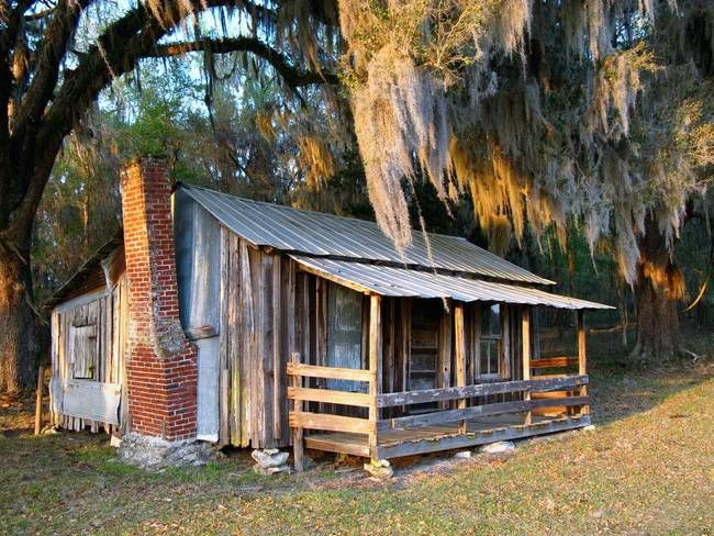 """Old Florida Cabin"" by Randi Kuhne, Homosassa // Rustic old cabin in Citrus County, Florida. // Imagekind.com"