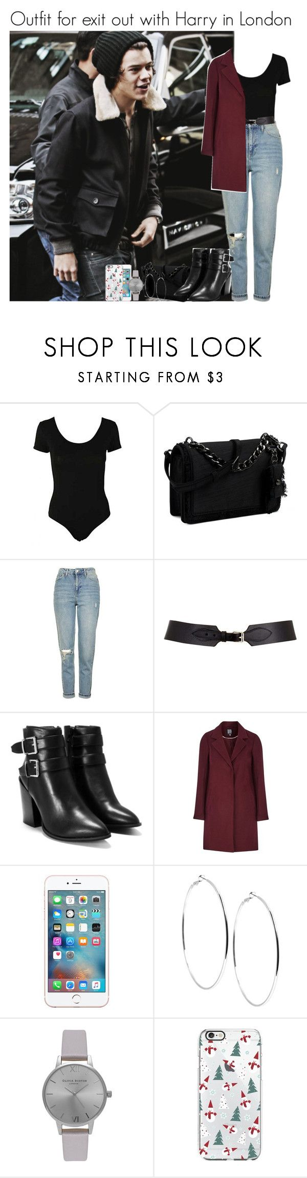 """Outfit for exit out with harry in London"" by louise-smiths ❤ liked on Polyvore featuring Nine West, Topshop, Maison Boinet, Nasty Gal, GUESS and Olivia Burton"