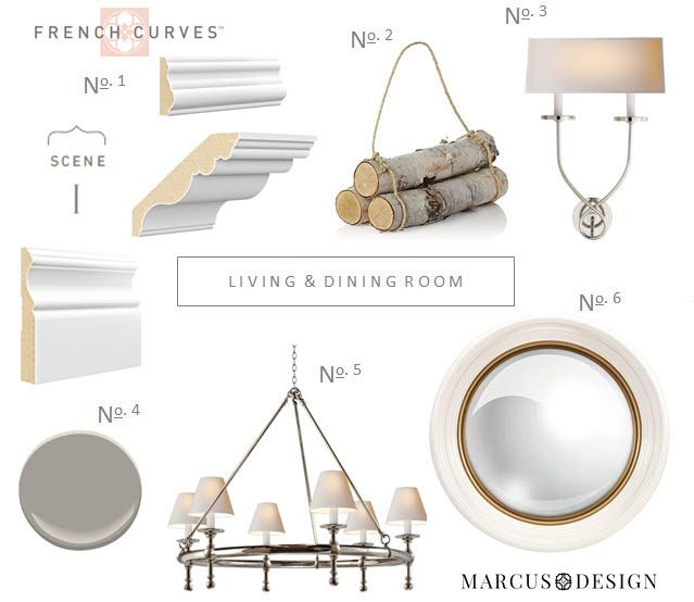 """Paint out the ceiling, create a tray ceiling that breaks up the wall with crown, and go heavy on the trim and moulding on the lower portion of the wall"" – Nancy Marcus's living and dining room design is coming together! #Metrie #FrenchCurves #interiorfinishings"