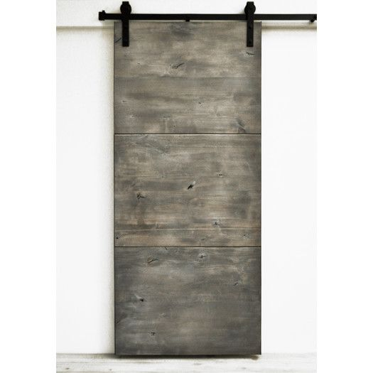 Dogberry Collections Modern Slab Sliding Barn Door with Hardware | AllModern