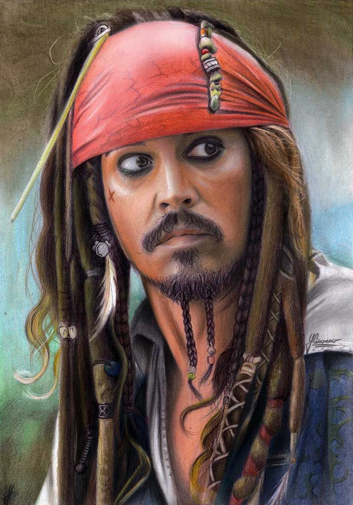 This is the old portrait drawing of Johnny Depp as Jack Sparrow I reworked it with pastel because it was quite bad before.