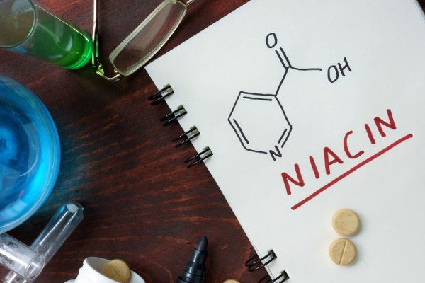 Niacin Chemical Structure Drawn On Notepad