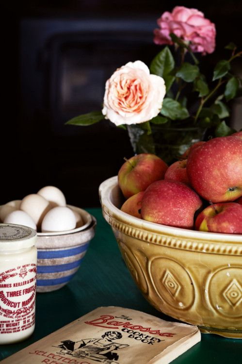 Apples ...I love old mixing bowls Yellow ware