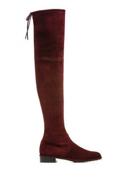 5814aa5ebf7 Burgundy Suede Pointed Laced Back Over The Knee Flat Boots  Chic159945
