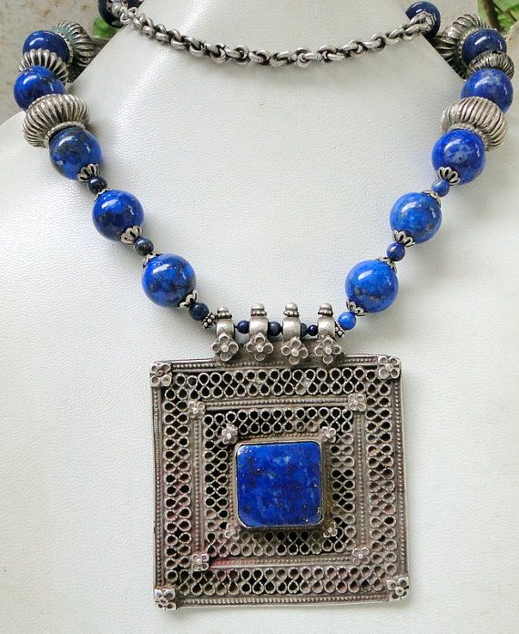 vintage antique ethnic tribal necklace lapis jewelry by Amrapali, $644.00