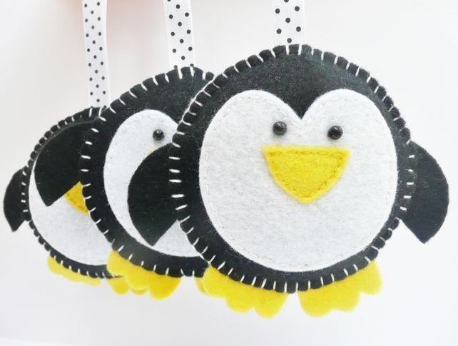 Felt+Christmas+Ornaments | x3 Penguin Felt Christmas Decorations - Folksy