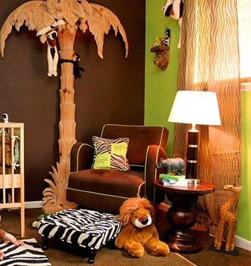 This is a great animal theme for a babys room.  Love the wall color and tecture. This room can gro with any child - plus you can play Chicka, Chicka Boom Boom/
