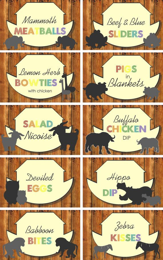 INSTANT DOWNLOAD  Noah's Ark Birthday Party Food by PartyMyWay, $5.00