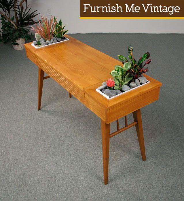 Mid Century Modern Planter Console Table