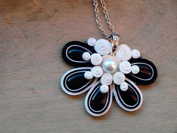 Soutache necklace Black white cream Soutache by ShoShanaArt