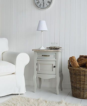 Bridgeport grey lamp table with cupboard. The White Lighthouse offers Living Room furniture and home decor in our unique style bring together Nordic, Coastal, Cottage and French styles in one