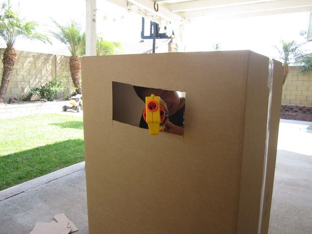 Ideas for how to cut boxes for Nerf shooting forts.