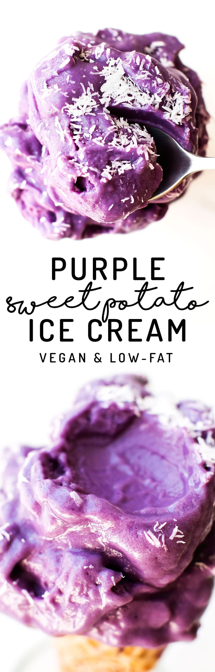 This Purple Sweet Potato Ice Cream is a dazzlingly delicious vegan and paleo dessert made in the blender with almond milk so it's easy, low-fat, and healthy too!