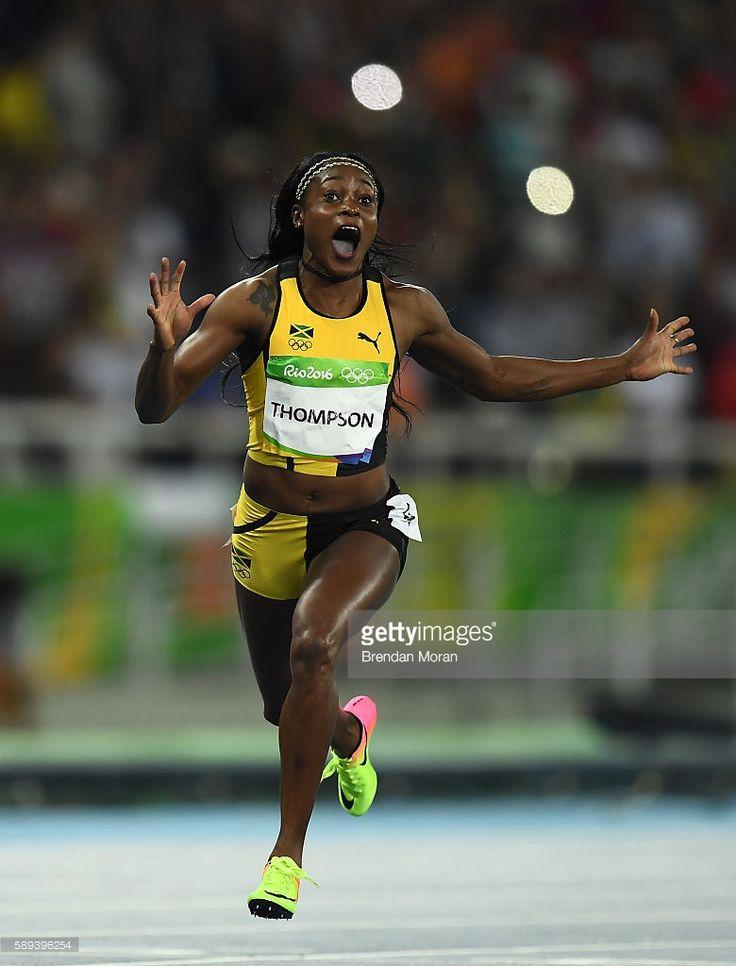 Rio , Brazil - 13 August 2016; Elaine Thompson of Jamaica celebrates winning the Women's 100m Final n the Olympic Stadium, Maracanã, during the 2016 Rio Summer Olympic Games in Rio de Janeiro, Brazil.