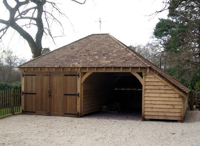 2 bay oak garage with aisle