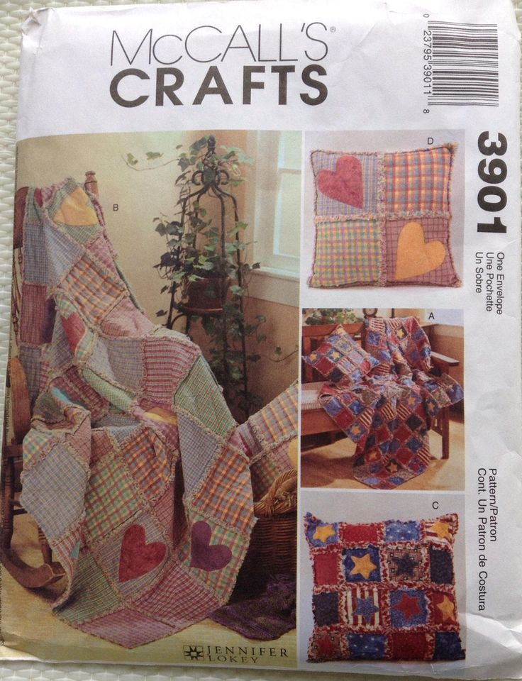 Rag throws and pillows McCalls craft pattern by Followlight on Etsy