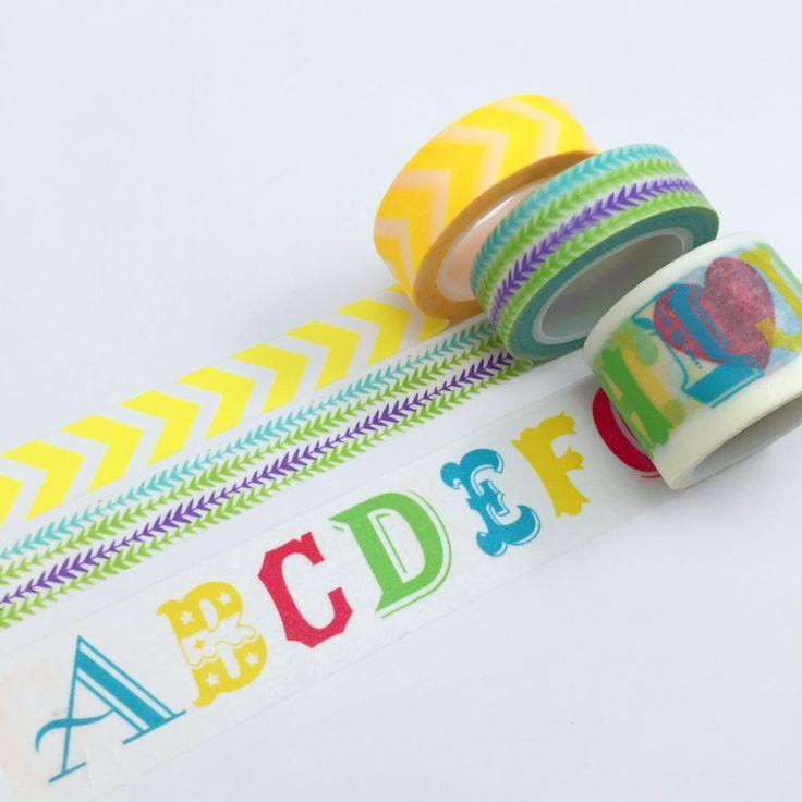 Alphabet Washi Tape • Spring Garden Tape • Yellow Chevron Tape