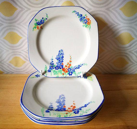 Hexagonal side plates . Art Deco china tea plates . Art deco cake plates . Hand painted side plates . Salad plates Set of five square plates