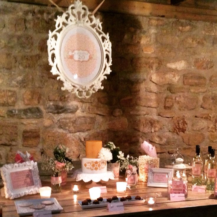 Candy bar in vintage roses birthday decoration