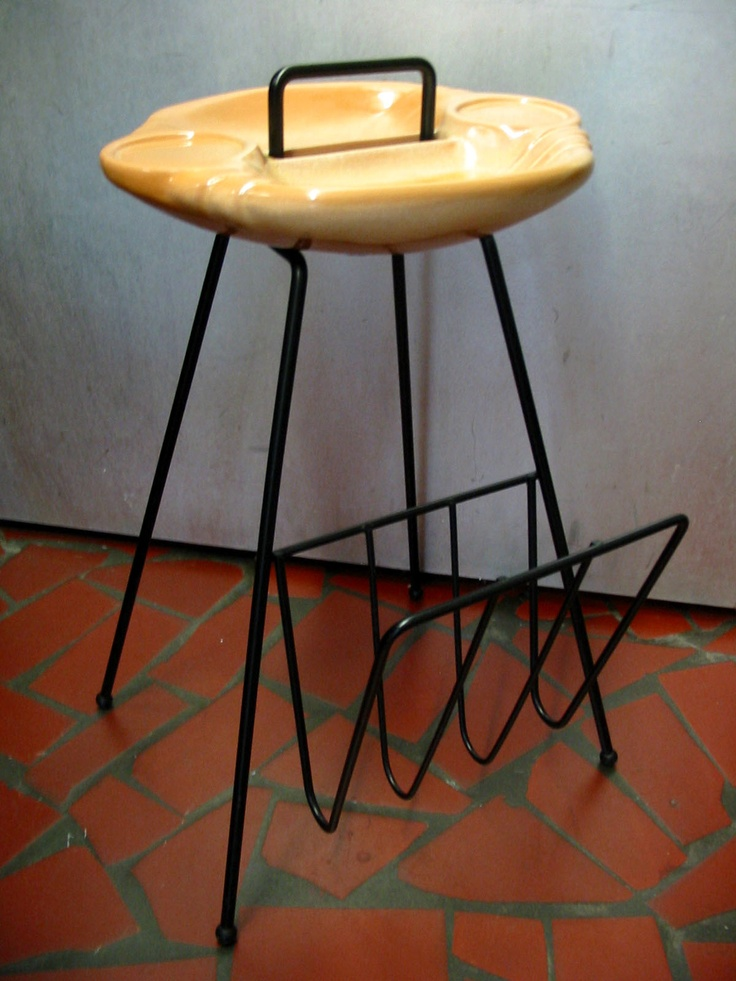 "Frankoma Pottery, mold No. 36M ""Serva-Tray"" with magazine rack.  1955 Ceramic Award Winner - Hess Bros. National Contest for Versatility in Design and Use.  Desert Gold glaze, manufactured between 1955 and 1964 in Sapulpa, Oklahoma.: Cat"