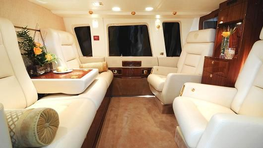 Interior of Donald Trump's private helicopter.
