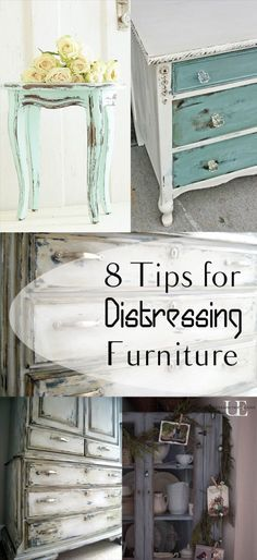 8 Tips for Distressing Furniture- love these furniture refinishes- great tips and ideas for distressing furniture and refinishing furniture.